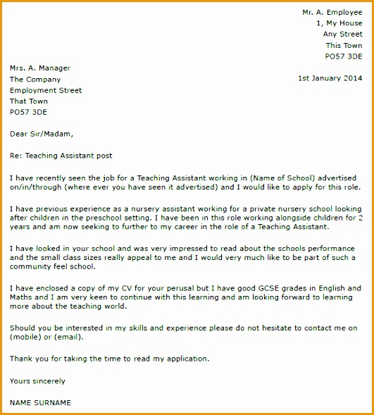 Great Covering Letter For Teaching Assistant 14 For Resume Cover Letter with Covering Letter For Teaching Assistant589531