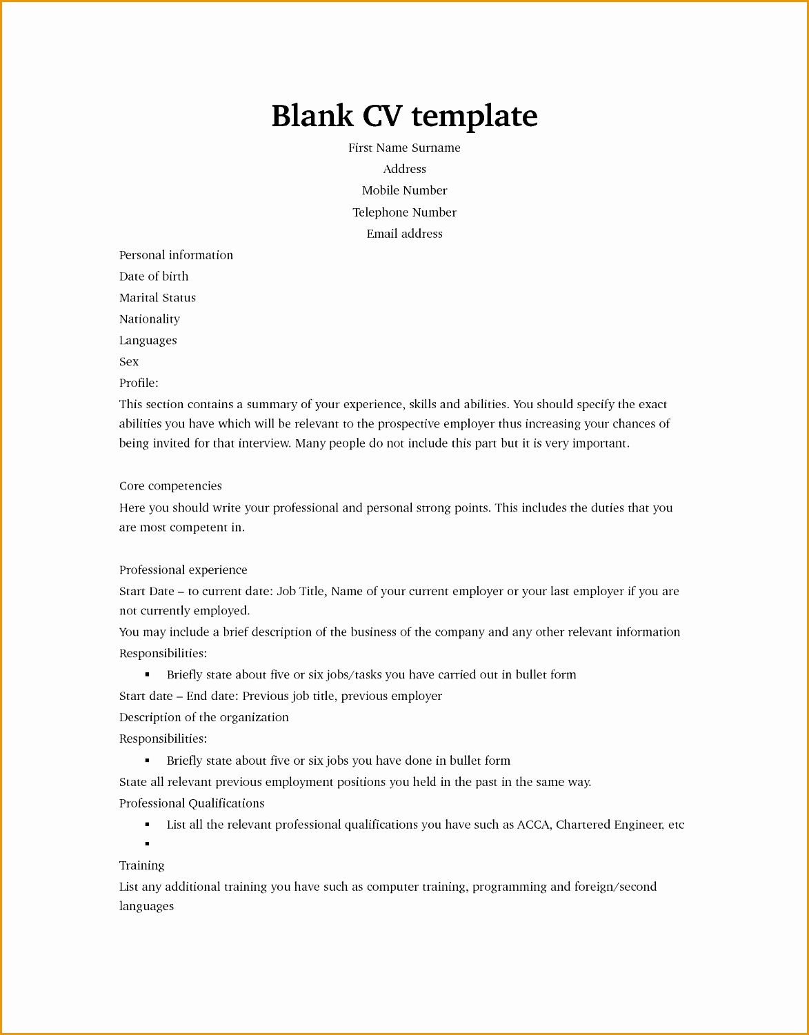 Blank Cv template Resume Builder