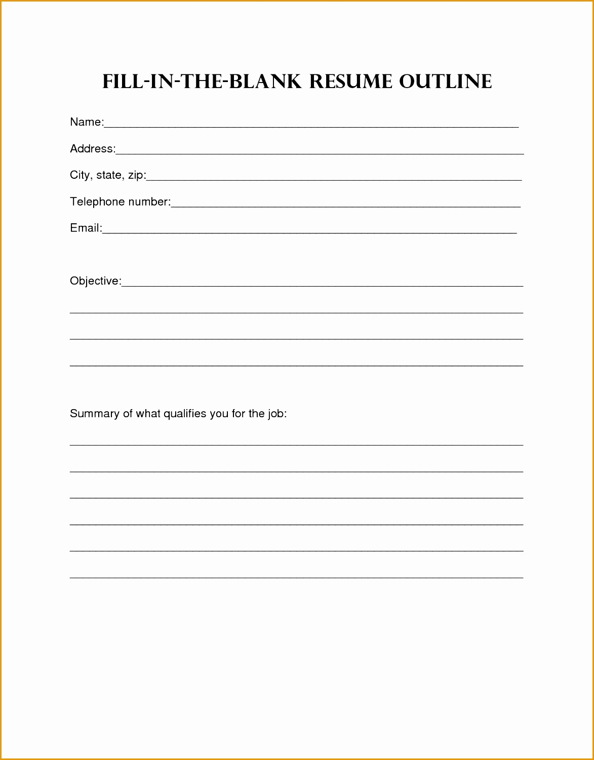 This is a graphic of Revered Free Printable Resume Templates Blank