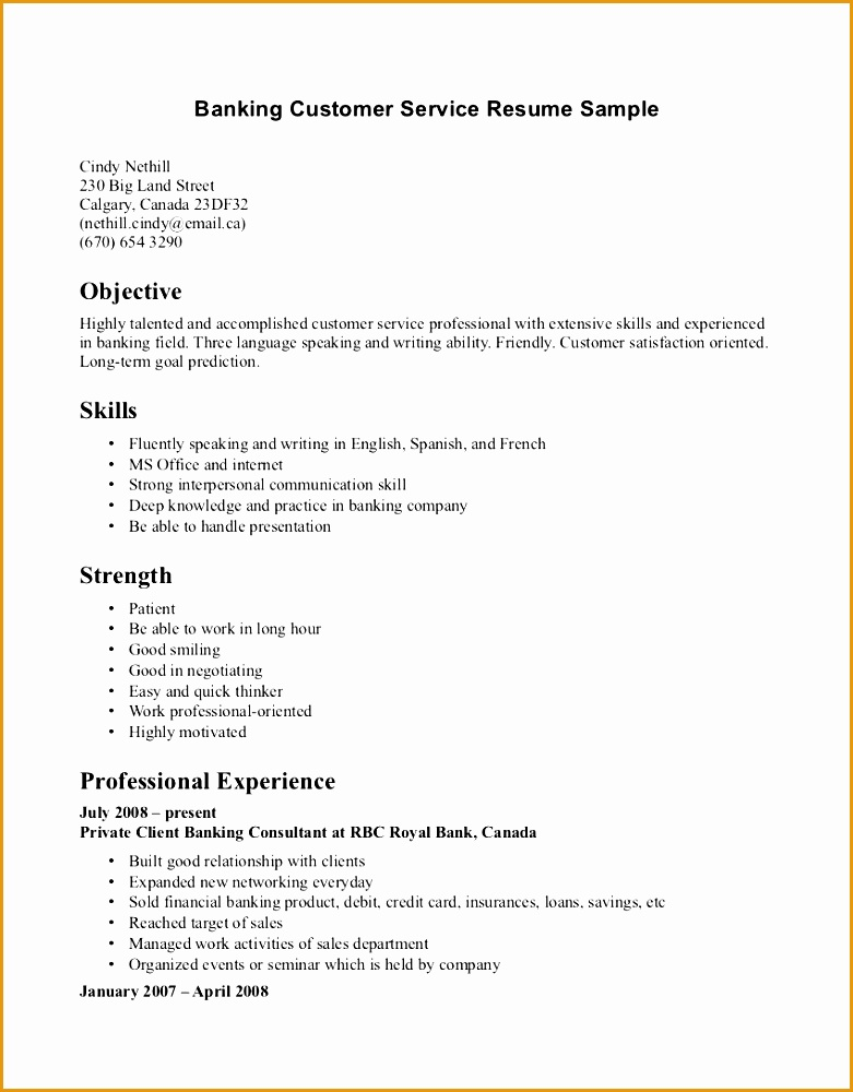 Resume Examples Banking Customer Service Resume Sample Objective Resume Template Customer Service Skills Strenght Professional1000781