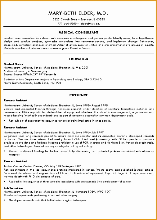 Medical Doctor Resume Example709506