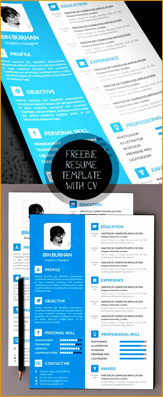 Beautiful Resume Template PSD with CV