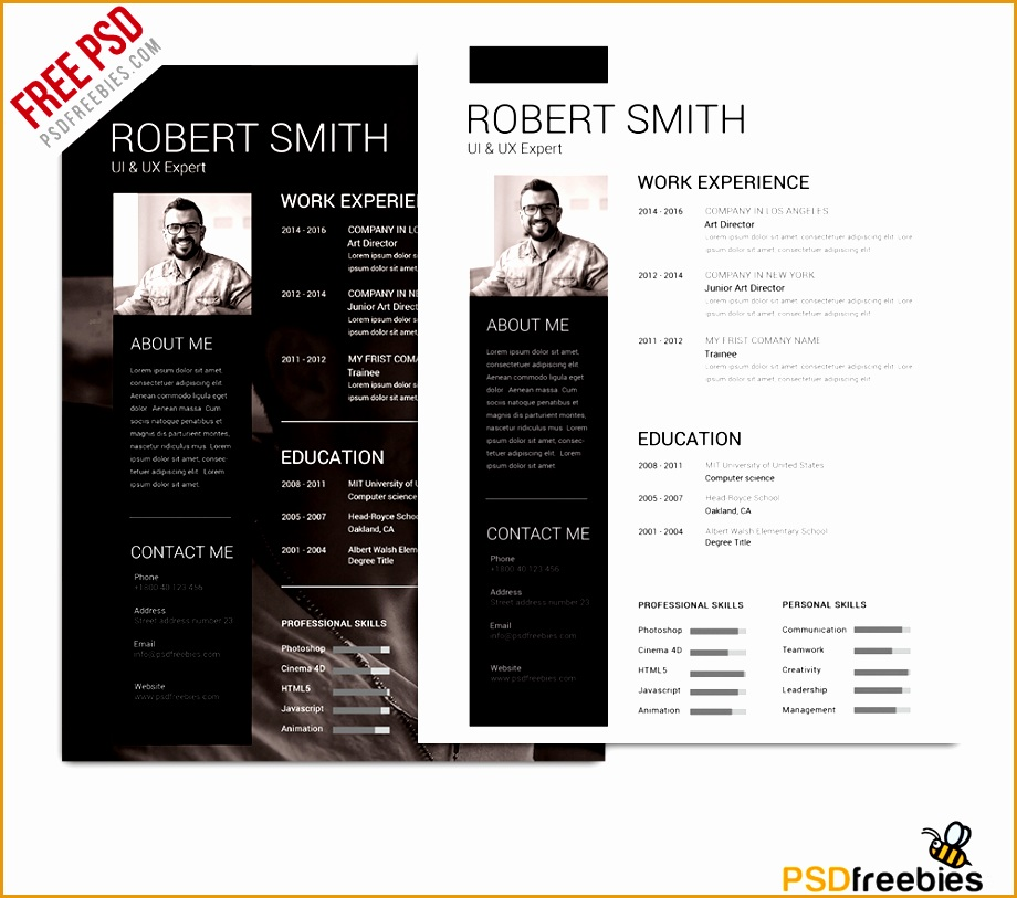 Simple and Clean Resume Free PSD Template m