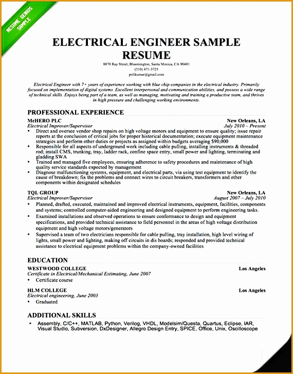 6 electrical engineering resume