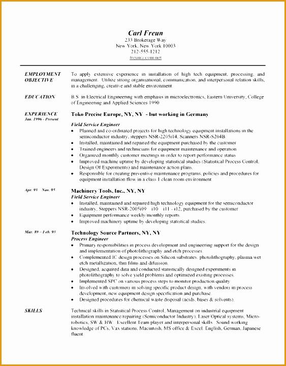 resume example field engineer