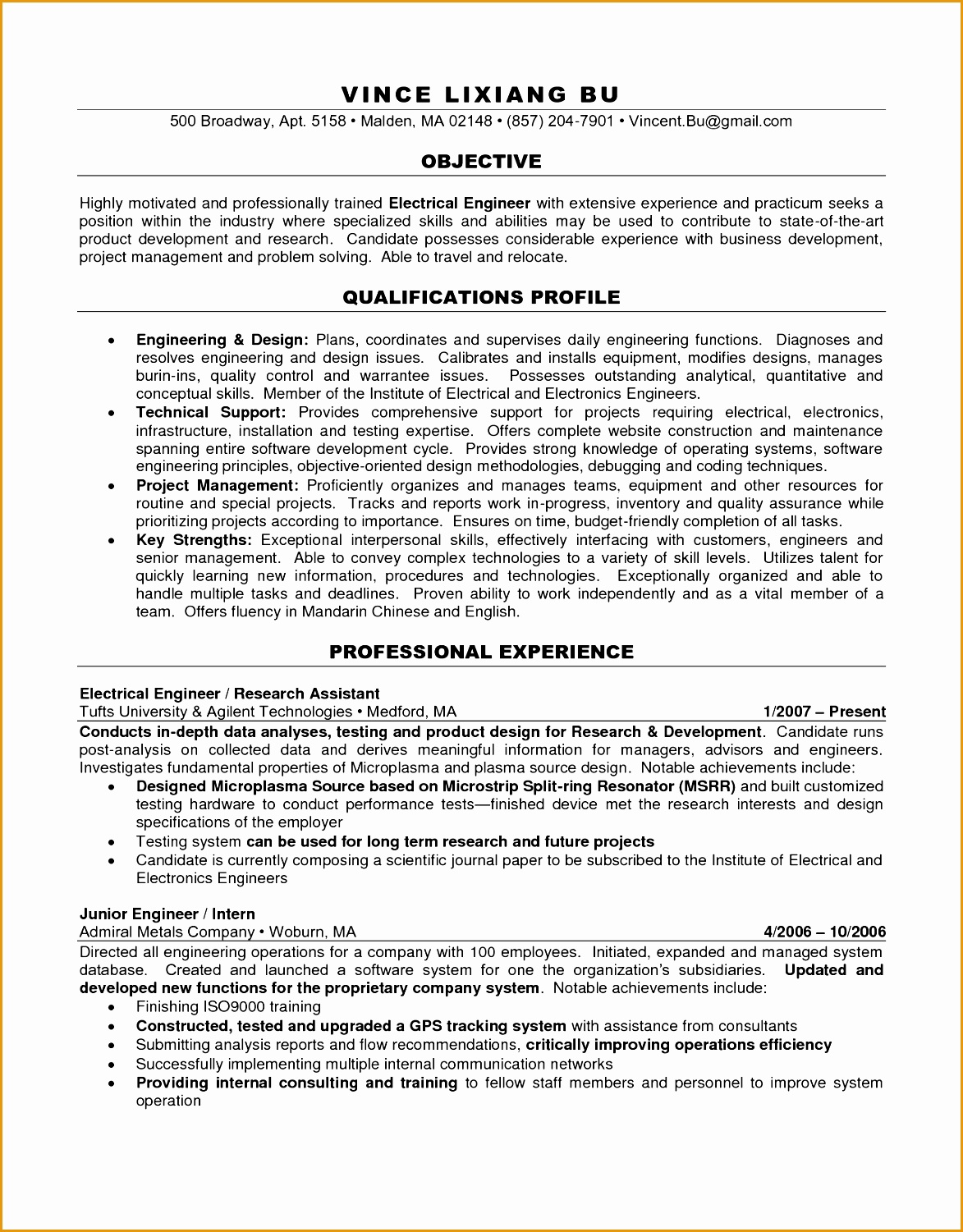 Engineering Objective Resume