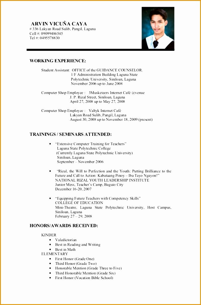 9 example of resume for fresh graduate