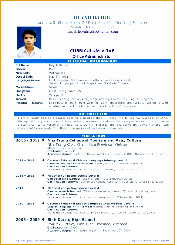 cv resume sample for fresh graduate of office administration 1 638 cb=