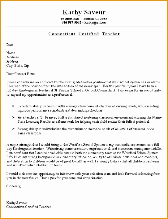 sample resume cover letter for teacher