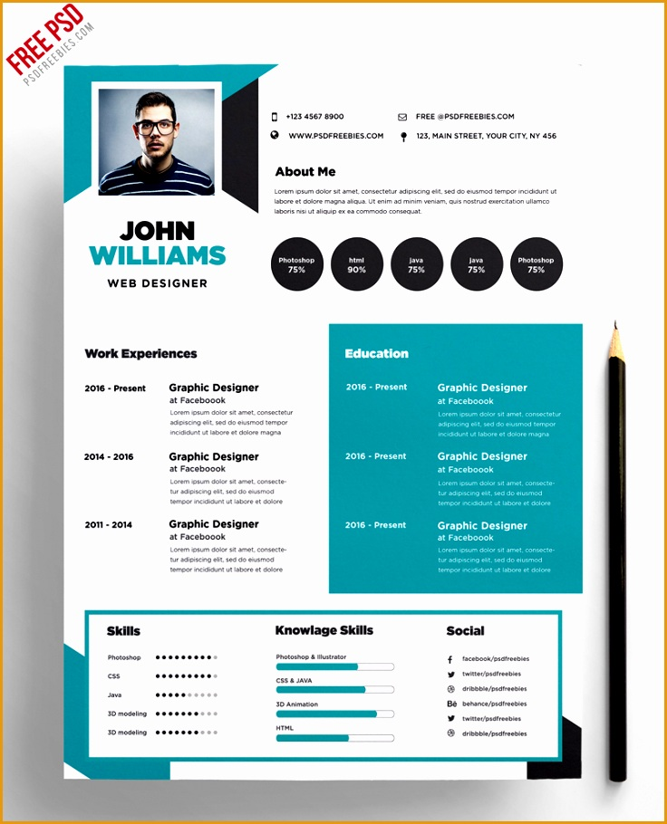 Free Creative Resume Template PSD Preview