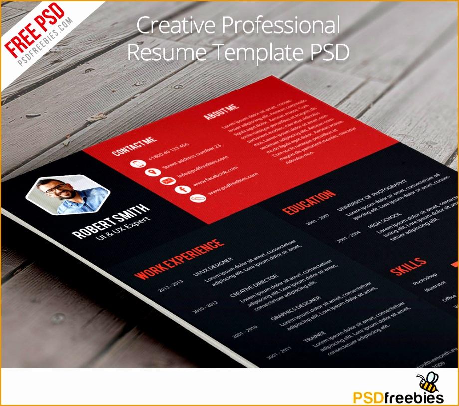 creative professional resume template free psd psdfreebies