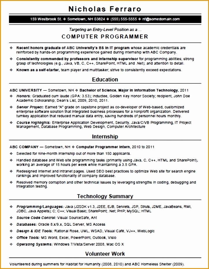 sample entry level puter programmer resume template 785x1024
