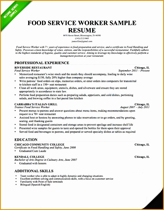Food Service Resume Professional Waiter Waitress Resume · food service cover letter example728570