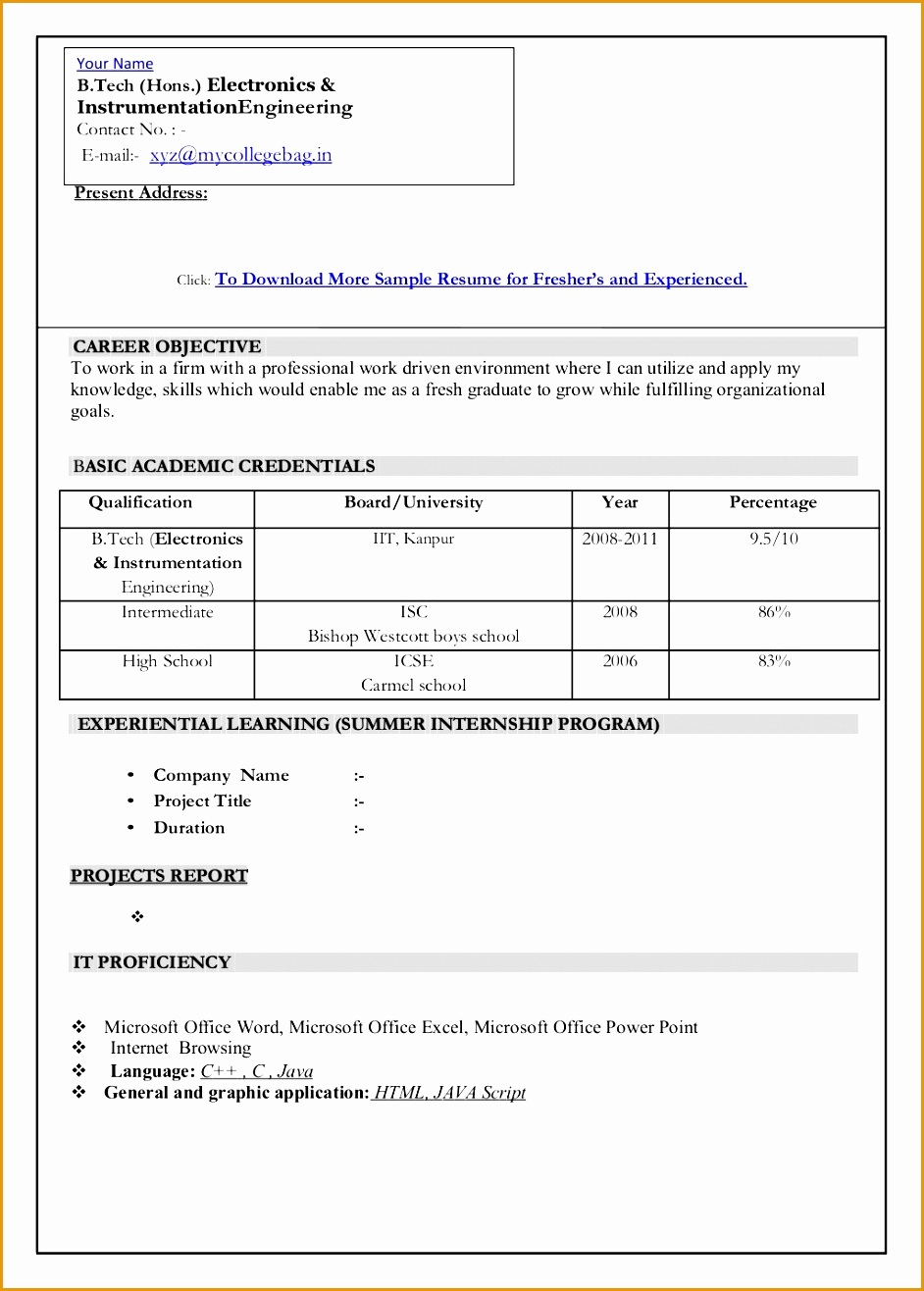 New Resume Format For Freshers1316942