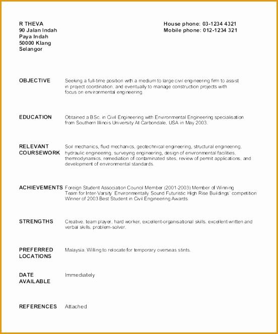 Civil Engineer Fresher Resume Sample Civil Engineer Fresh Graduate664552