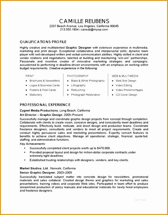 graphic design sample resume