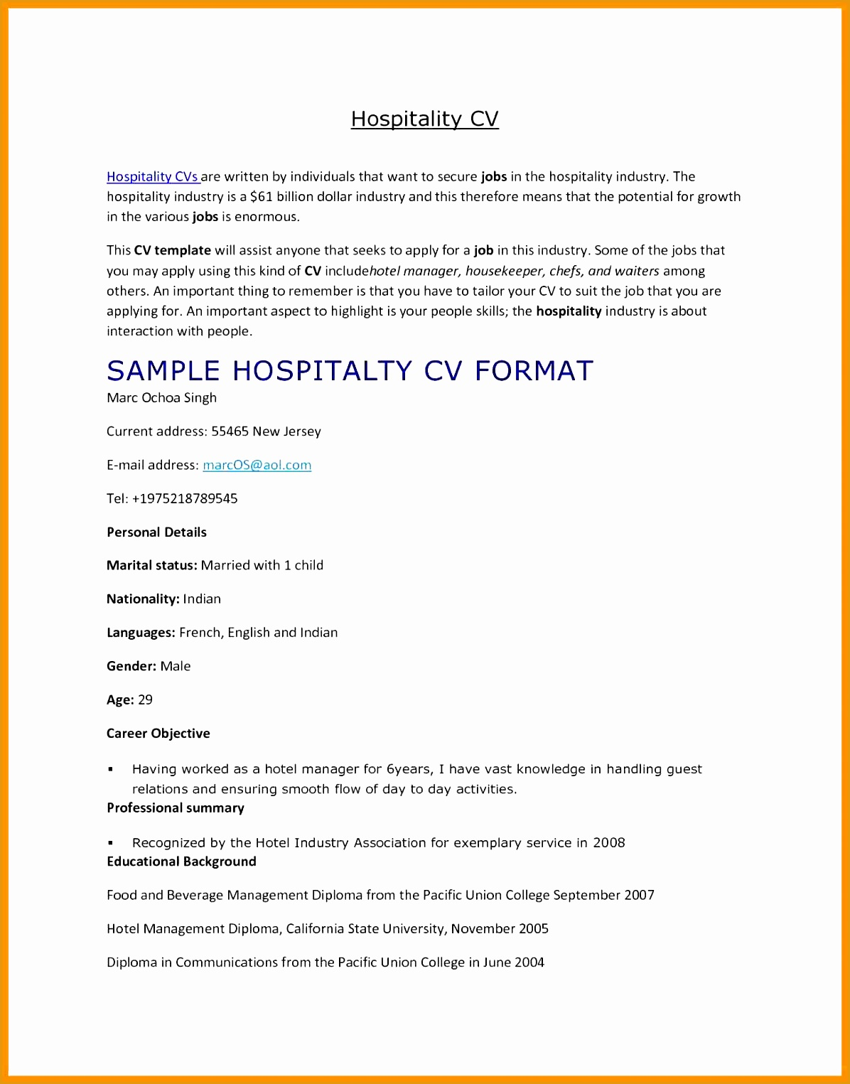 6 hospitality curriculum vitae free samples examples