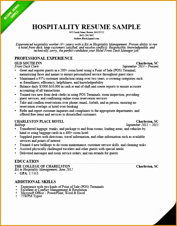 hospitality front desk resume sample
