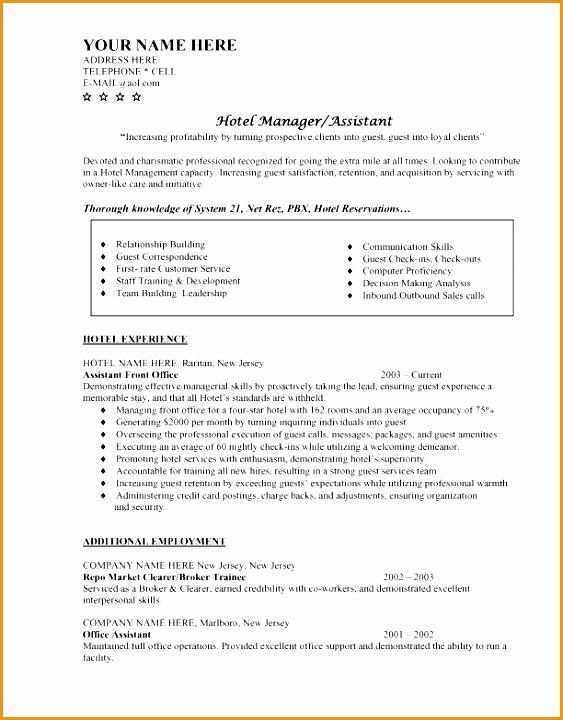 Hotel Management Manager CV Letter