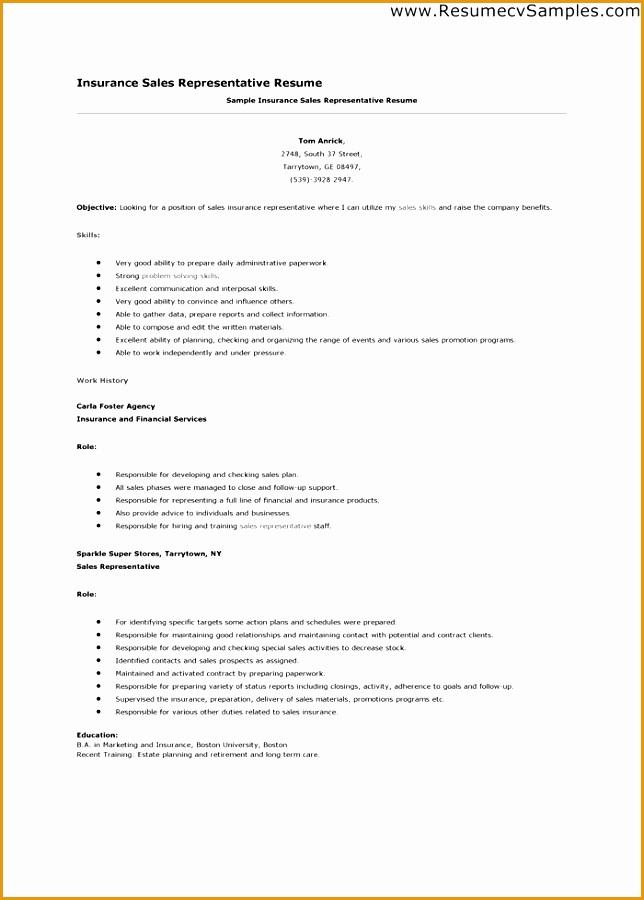insurance sales resume valuebook co