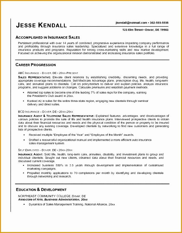 insurance sales representative resume