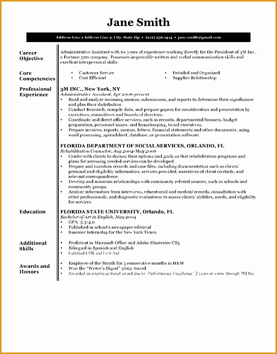 Resume Template BW Executive