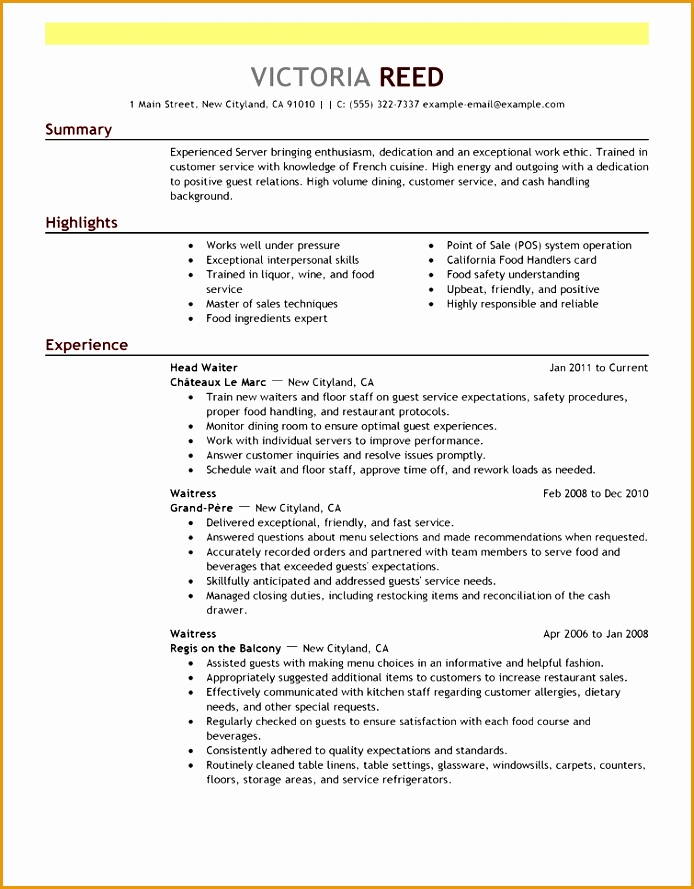 server food restaurant resume example emphasis 3 full