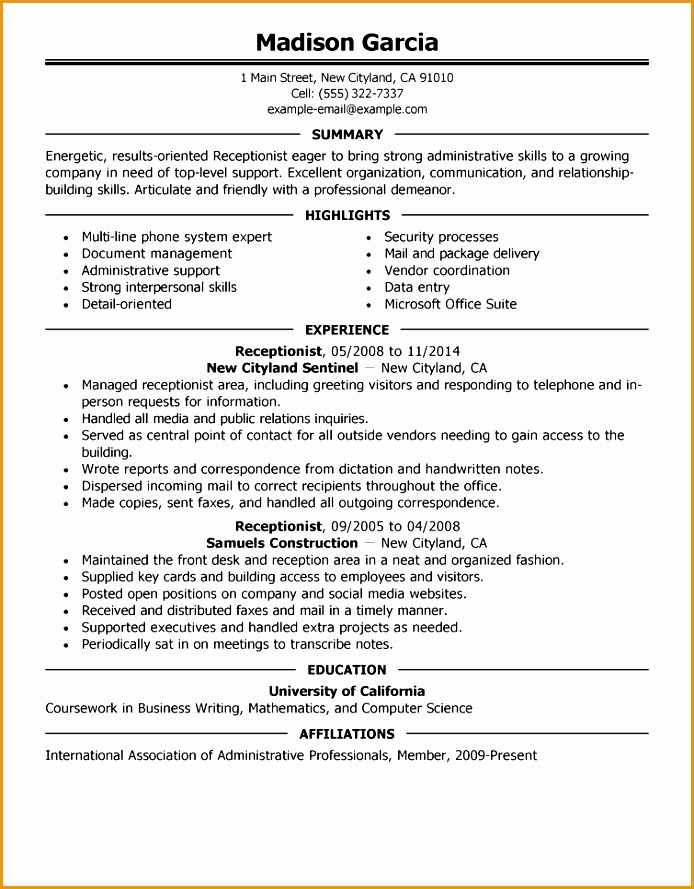 receptionist administration office support resume example executive 2 full