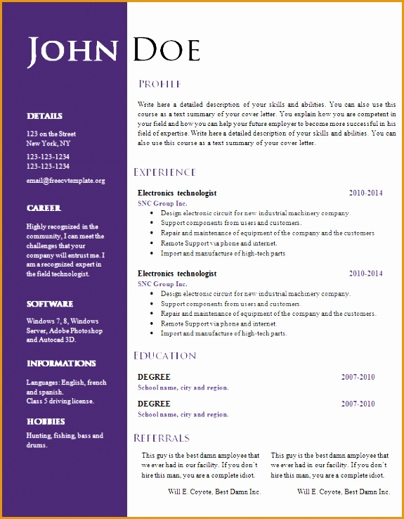 pleasing resume templates doc fresh