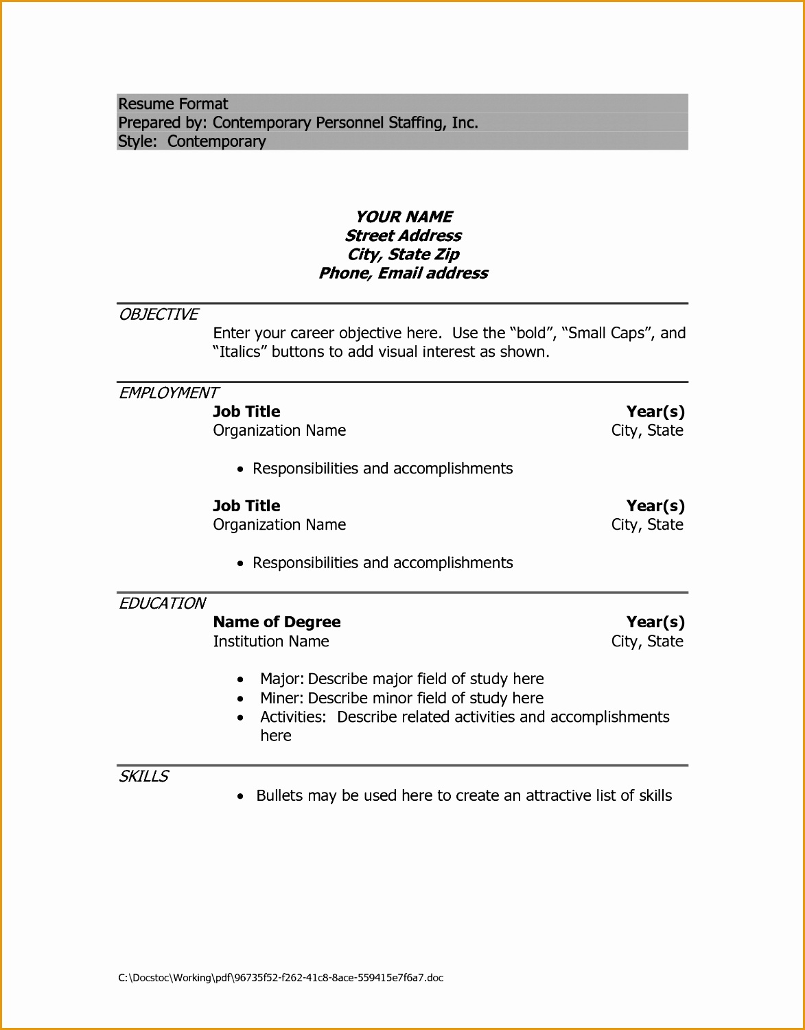 Ideas Collection Sample Resume In Doc Format Also Letter