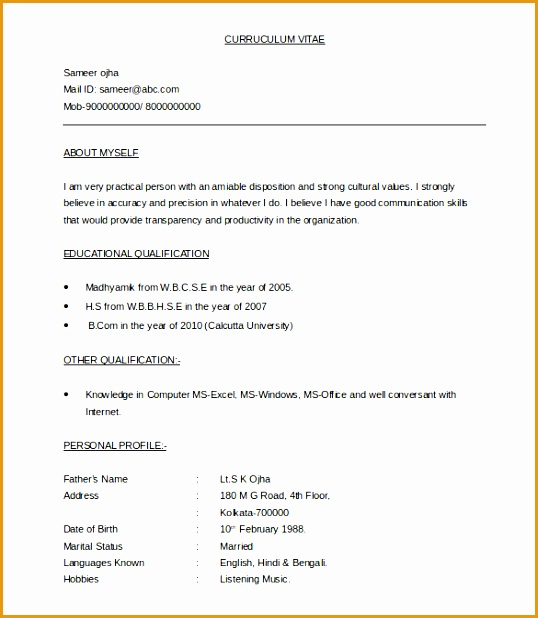 5 Latest Cv Templates Doc  Free Samples   Examples