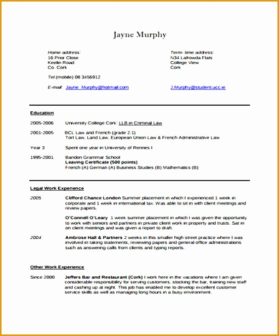 Legal Curriculum Vitae Template