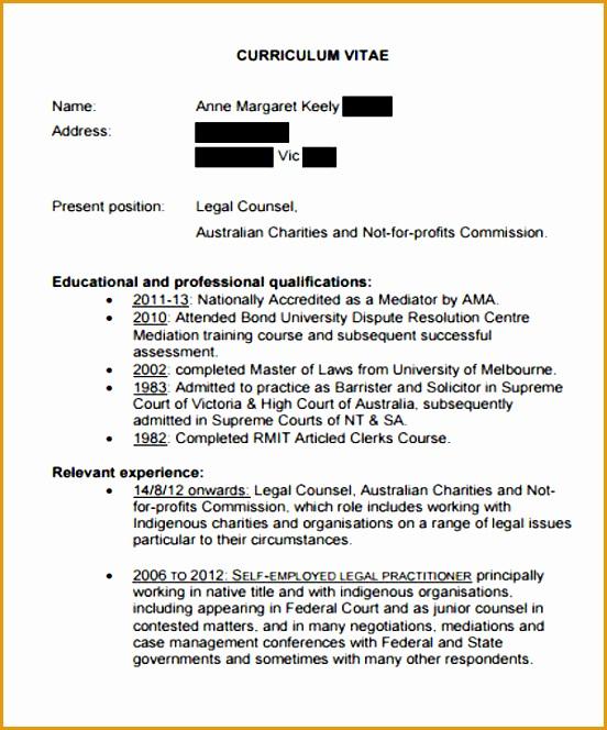 Legal Counsel Curriculum Vitae664552