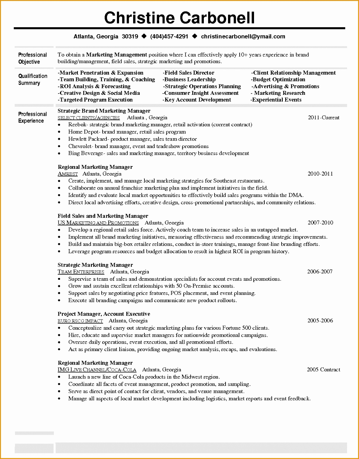 example of a brand manager resume