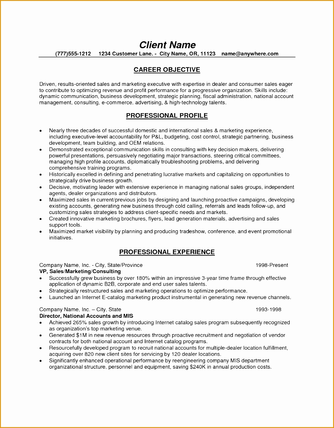 5 marketing operations executive resume free sles