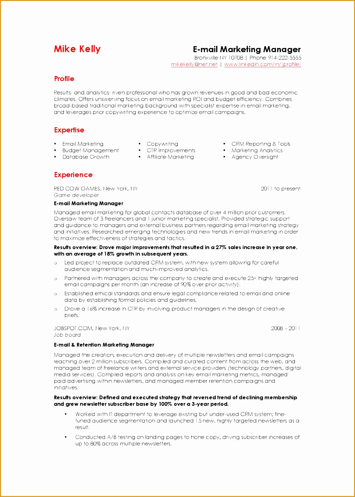 Email Marketing Manager resume example15961140