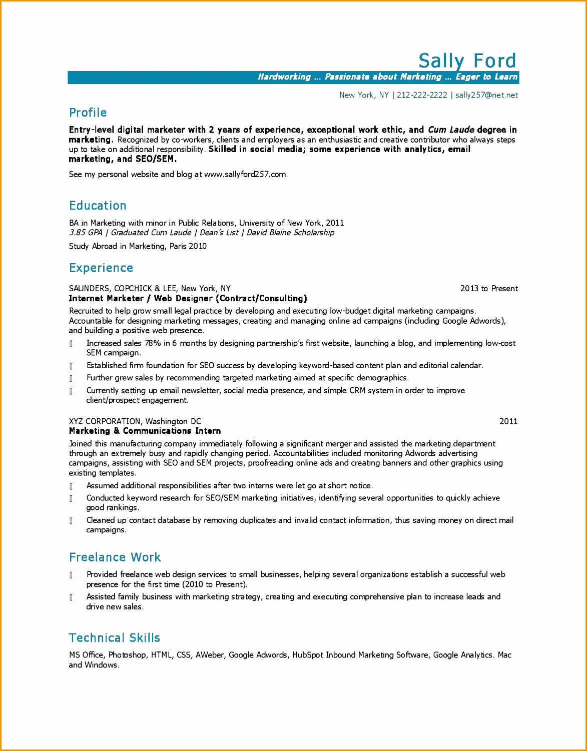 Entry Level Marketing resume sample15011173