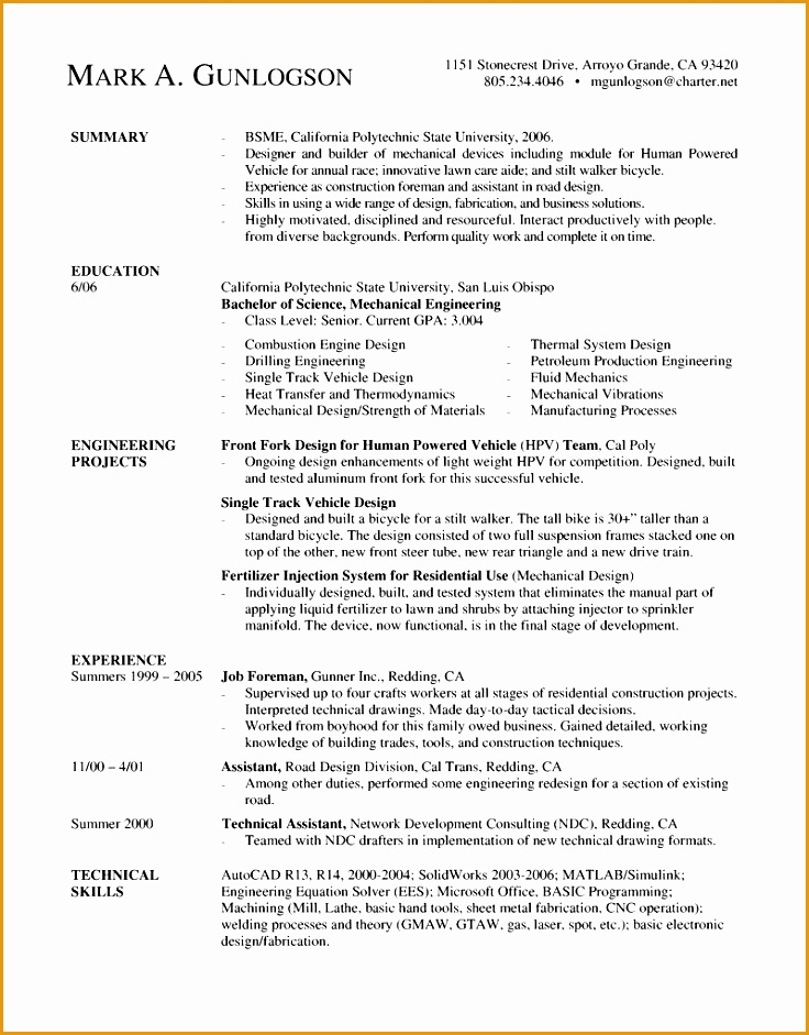 mechanical engineer new grad resume