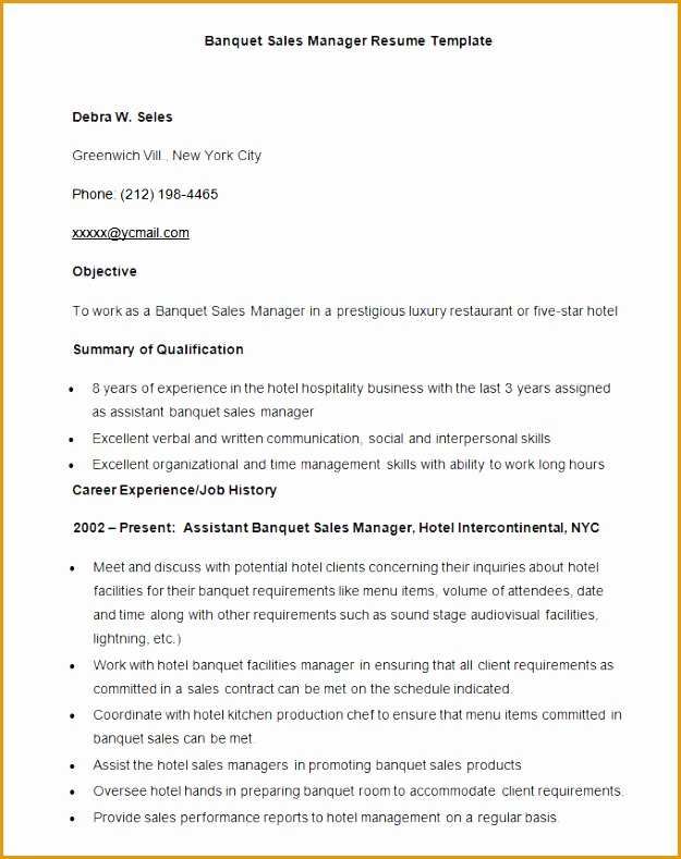 Sample Banquet Sales Manager Resume Template Download11