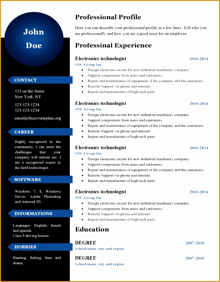 free cv resume template 386 page0001