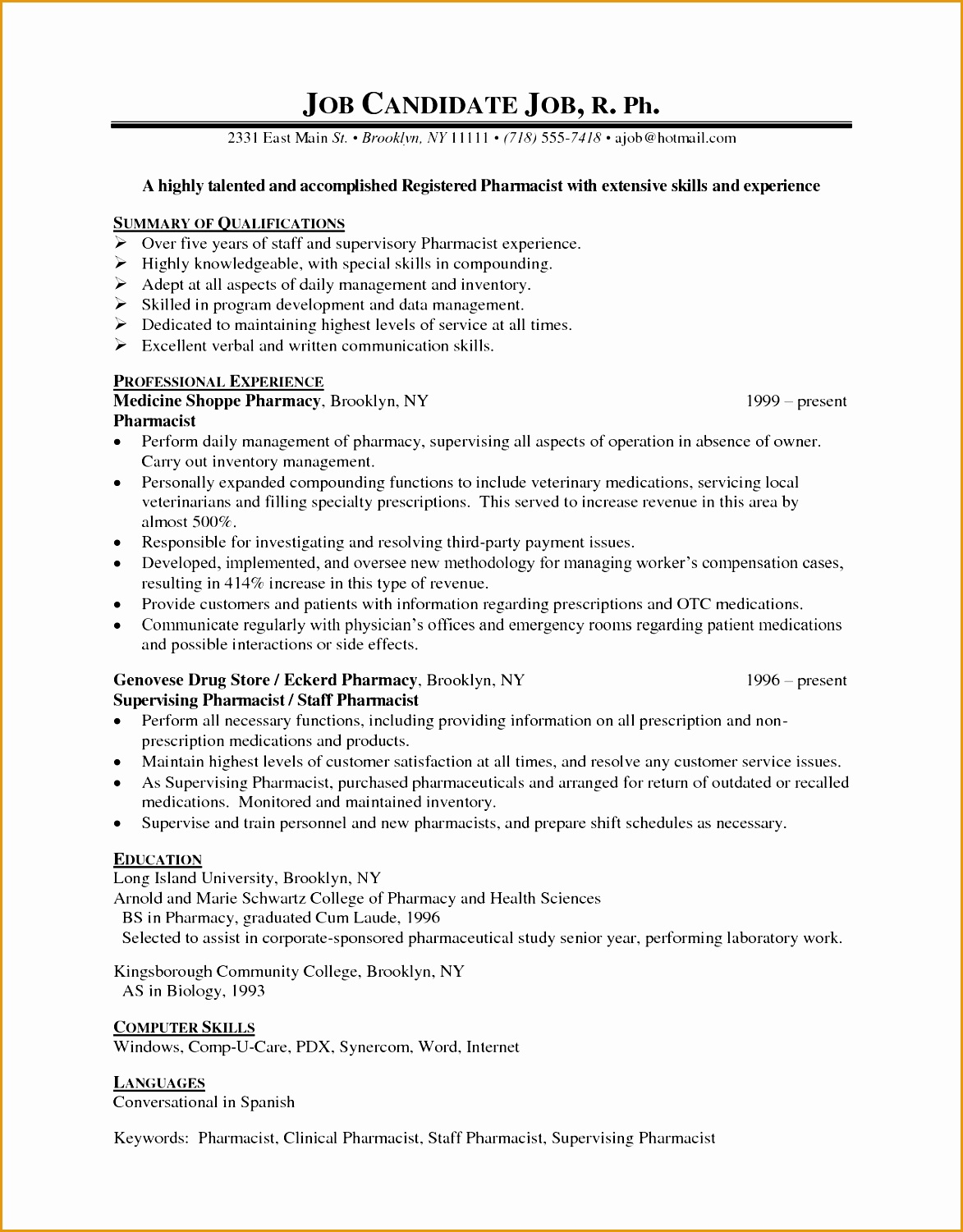 Pharmacist Resume Examples we provide as reference to make correct and good quality Resume15011173