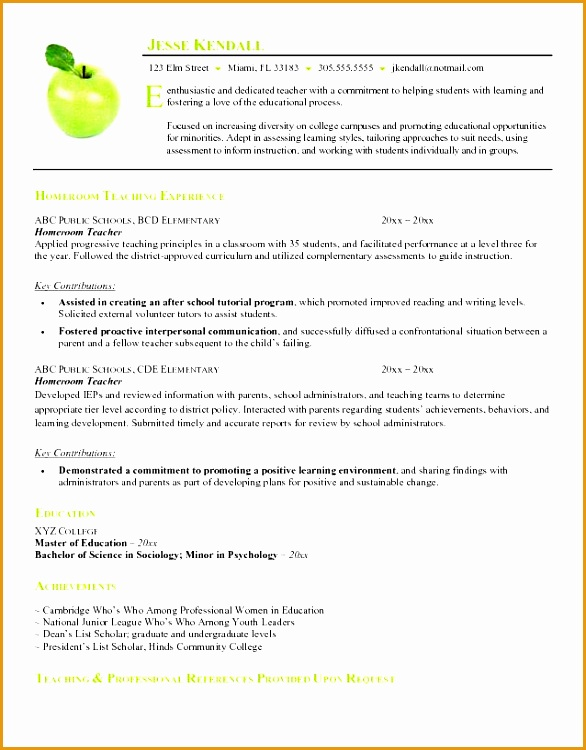 example of resume format for teacher Free Homeroom Teacher Resume Example750586
