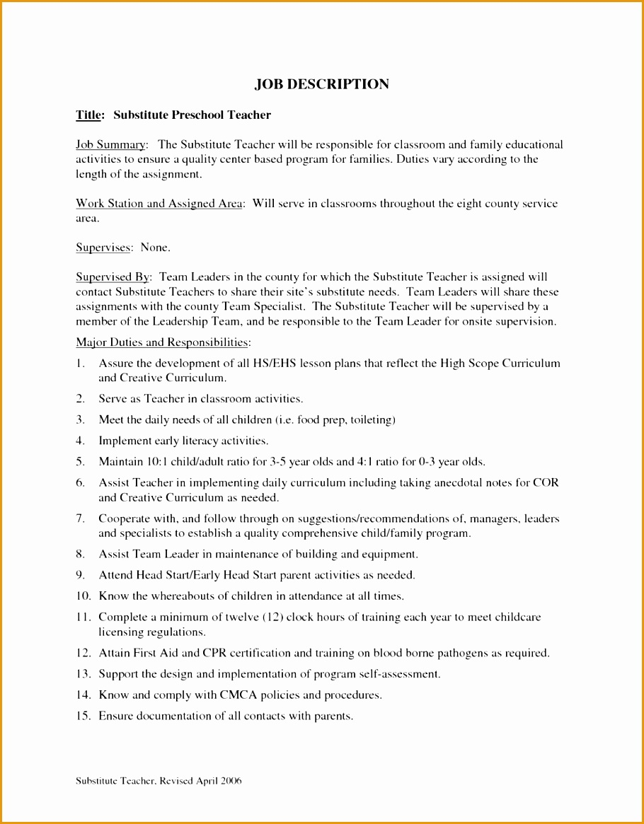 description preschool teacher resume sample job interview career1165910