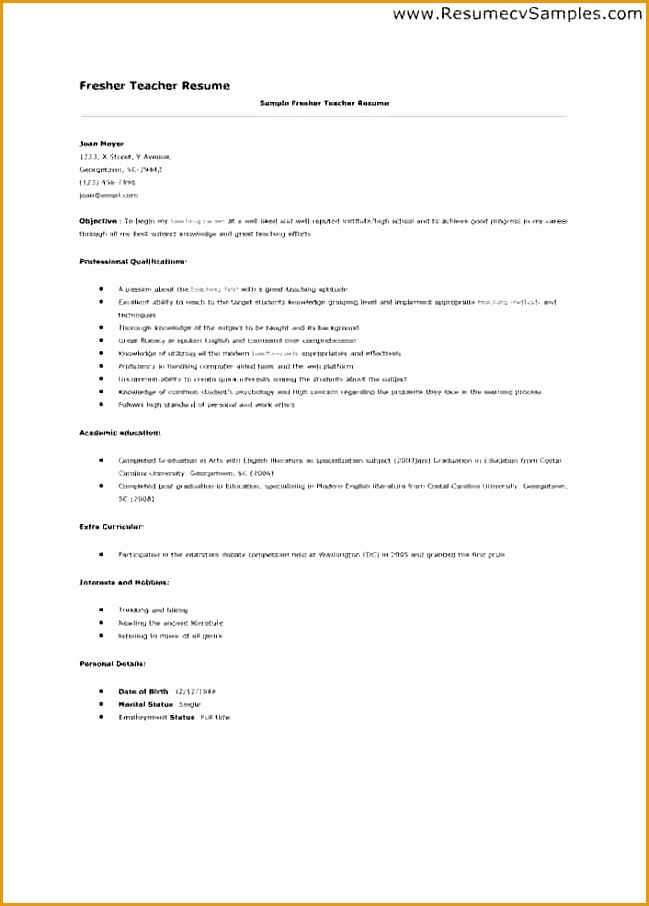 Teachers Resume Sample906649