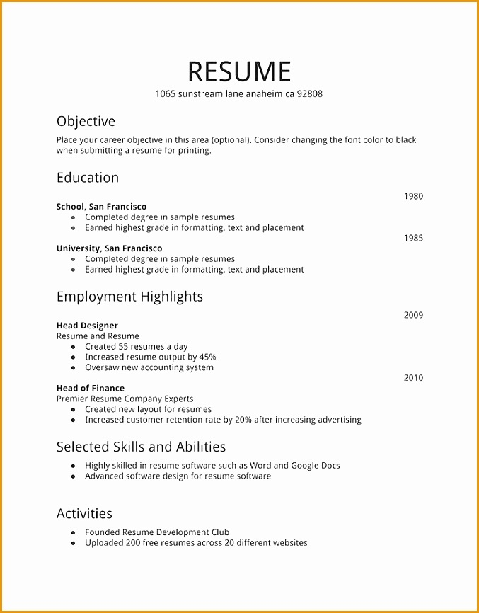 Simple Resume Examples For Jobs866677