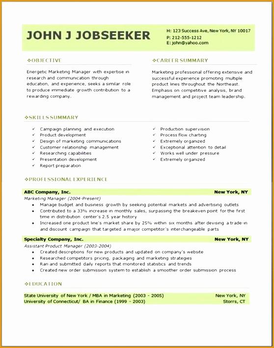 Microsoft Word Resume Template Free Resume Template Free709558
