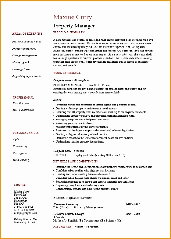 pic property manager resume 01