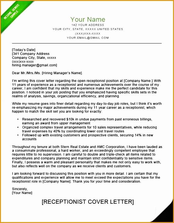 Receptionist Cover Letter Sample Park