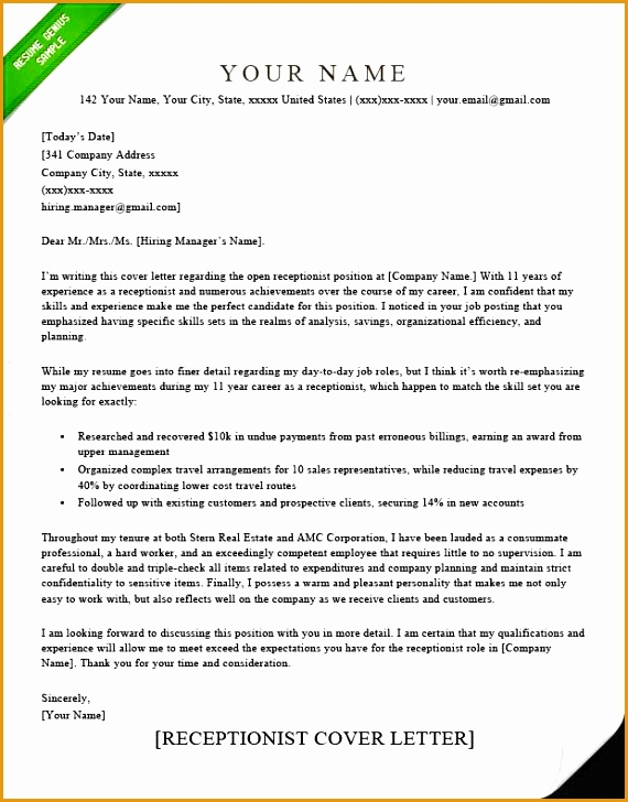 Receptionist Cover Letter Sample Elegant