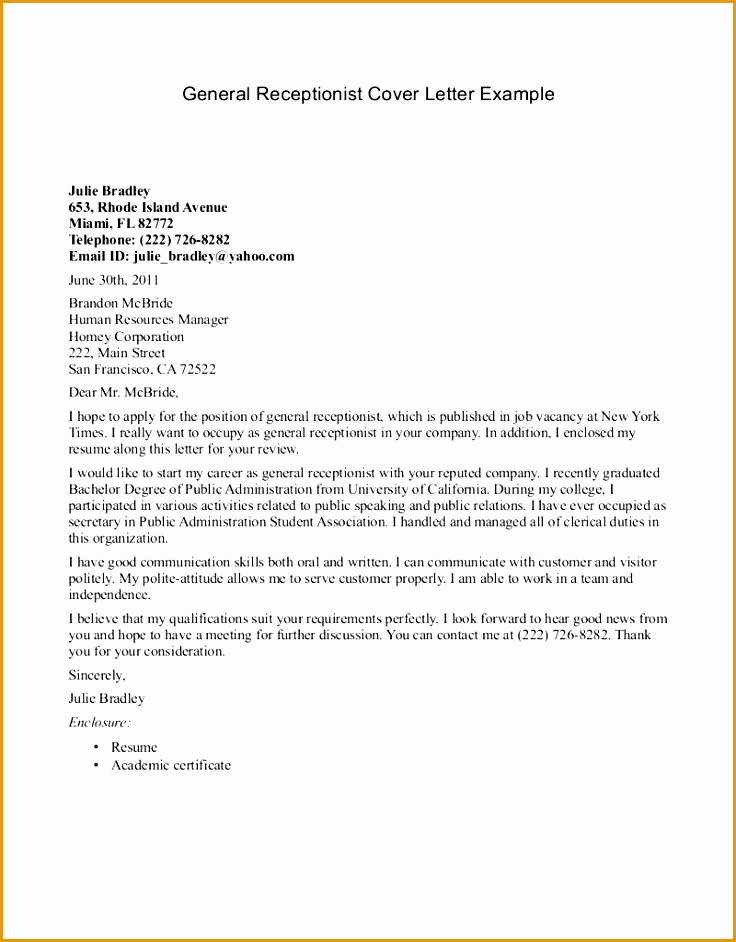 winsome design receptionist cover letter 9 example